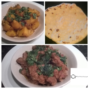 Dry Spicy Curry, Potato Curry& Chapatti