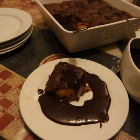 Serve with chocolate sauce