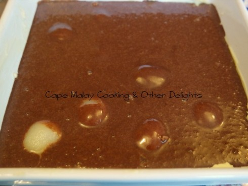 Pour the chocolate mixture over the pears