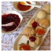 Scones served with homemade strawberry and apricot jam