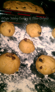 Raisin Buns Before Baking