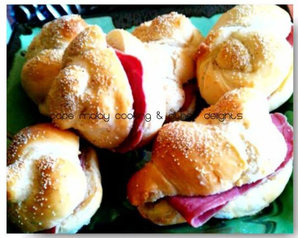 Homemade bread rolls filled with homemade corned beef